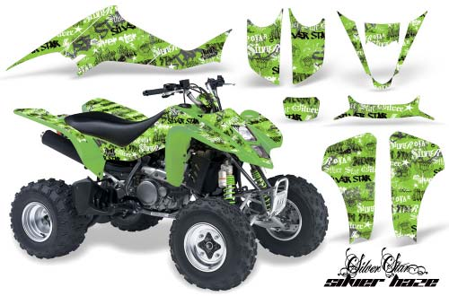 Suzuki Ltz 400 Atv Graphics Silverhaze Black Green Quad Graphic