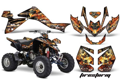 Suzuki LTZ 400 ATV Graphics: Firestorm - Black Quad Graphic Decal Wrap Kit