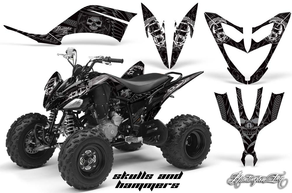 Yamaha Raptor 250 ATV Graphics: Huntington Ink - Black Quad Graphic Decal Wrap Kit