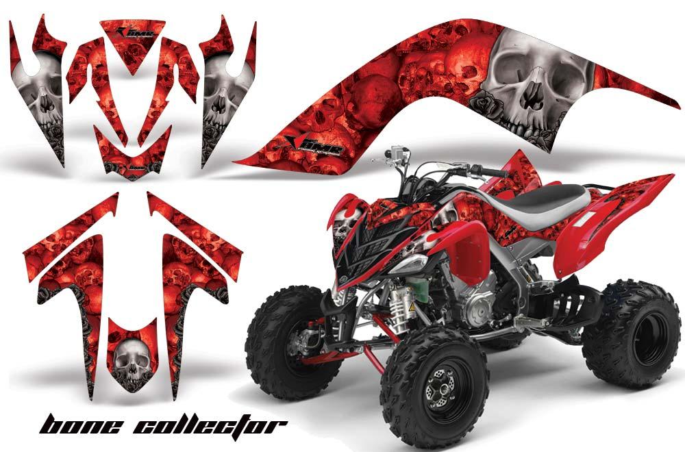 Yamaha Raptor 700 ATV Graphics: Bone Collector - Red Quad Graphic Decal Wrap Kit