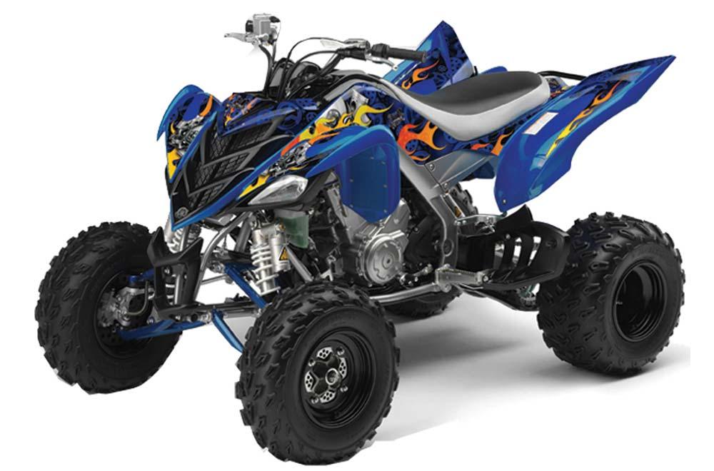 Yamaha Raptor 700 ATV Graphics: Motorhead - Red Quad Graphic Decal Wrap Kit