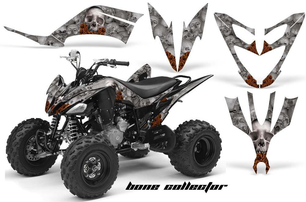 Yamaha Raptor 250 ATV Graphics: Bone Collector - Silver Quad Graphic Decal Wrap Kit