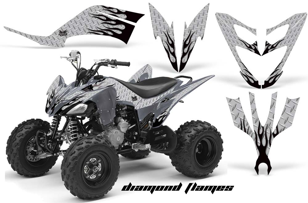 Yamaha Raptor 250 ATV Graphics: Diamond Flame - Black Silver Quad Graphic Decal Wrap Kit