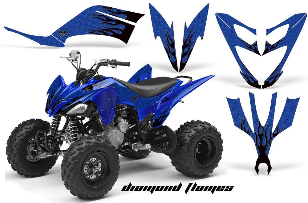 Yamaha Raptor 250 ATV Graphics: Diamond Flame - Blue Quad Graphic Decal Wrap Kit