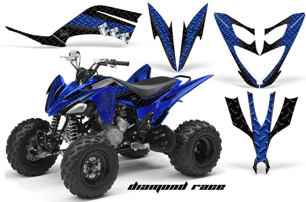 Yamaha Raptor 250 ATV Graphics: Diamond Race - Blue Quad Graphic Decal Wrap Kit