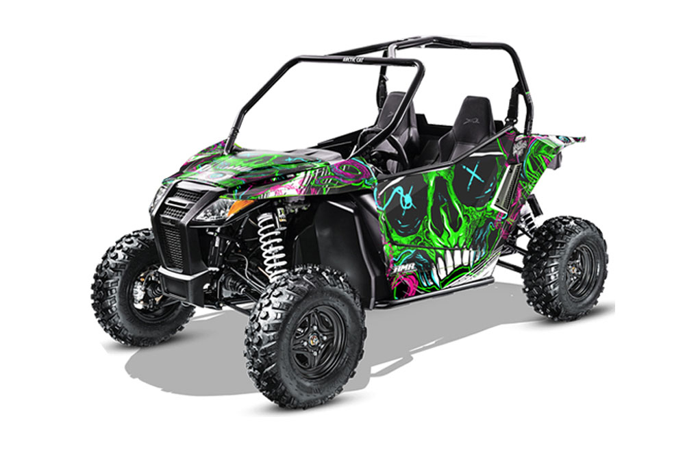 Arctic Cat Wildcat Limited 700 UTV Graphics: Frenzy - Green Side by Side Graphic Decal Wrap Kit