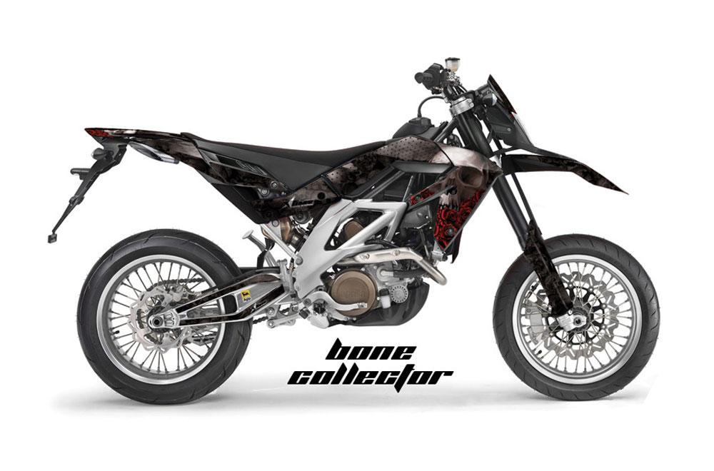 Aprilia SXV 4.5 Dirt Bike Graphics: Bone Collector - Black MX Graphic Wrap Kit (2006-2015)