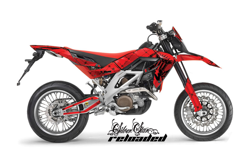 Aprilia SXV 4.5 Dirt Bike Graphics: Silver Star Reloaded - Red MX Graphic Wrap Kit (2006-2015)
