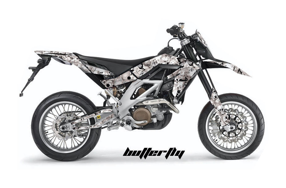 Aprilia SXV 4.5 Dirt Bike Graphics: Butterfly - White MX Graphic Wrap Kit (2006-2015)