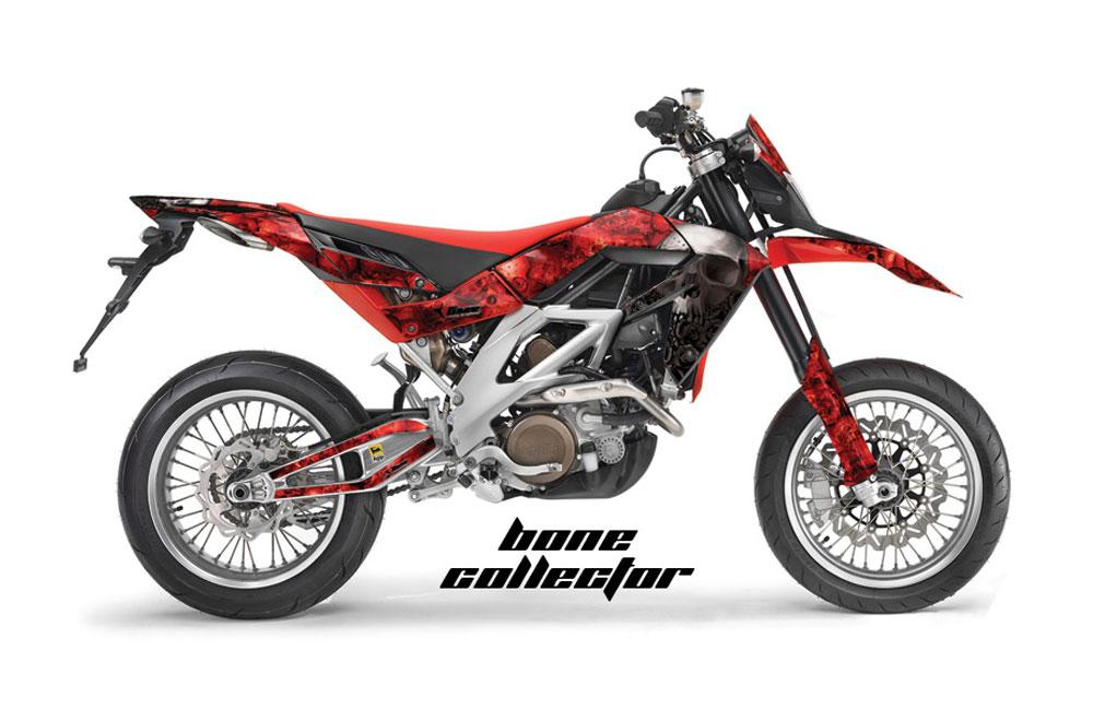 Aprilia SXV 4.5 Dirt Bike Graphics: Bone Collector - Red MX Graphic Wrap Kit (2006-2015)