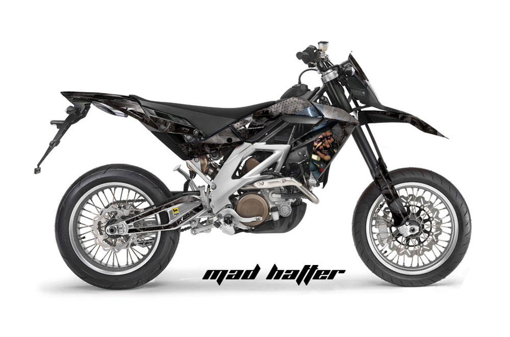 Aprilia SXV 4.5 Dirt Bike Graphics: Mad Hatter - Black MX Graphic Wrap Kit (2006-2015)