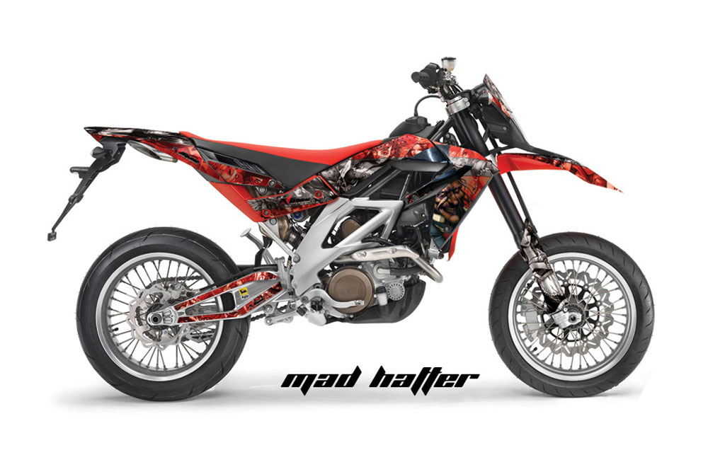 Aprilia SXV 4.5 Dirt Bike Graphics: Mad Hatter - Red Silver MX Graphic Wrap Kit (2006-2015)