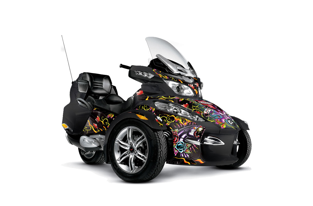 Can Am BRP (RTS) Spyder Graphics: Ed Hardy Love Kills  - Black Roadster Graphic Decal Wrap Kit