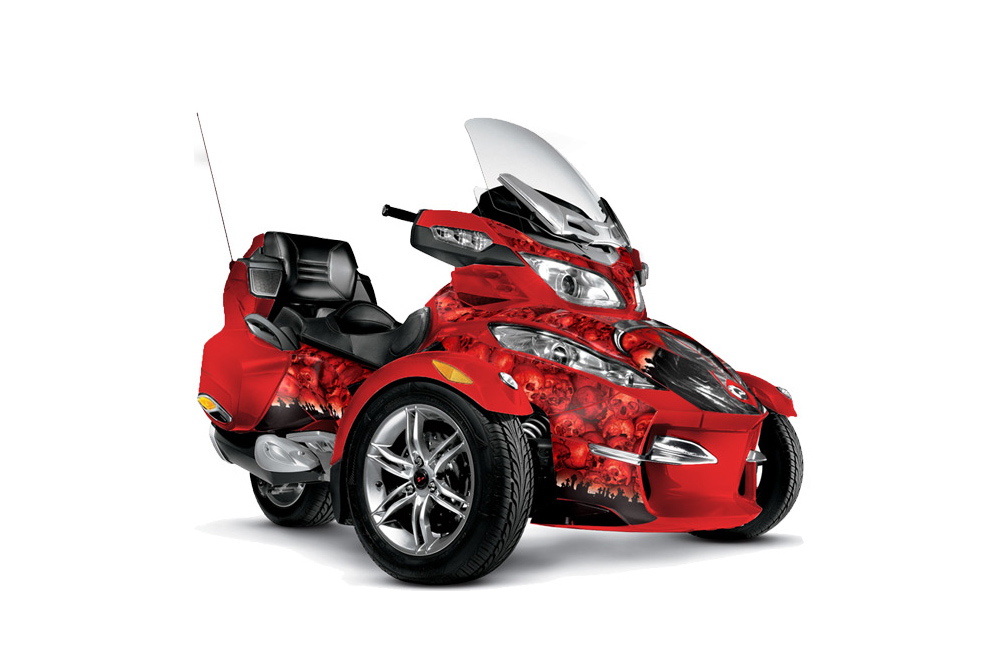 Can Am BRP (RTS) Spyder Graphics: Reaper  - Red Roadster Graphic Decal Wrap Kit
