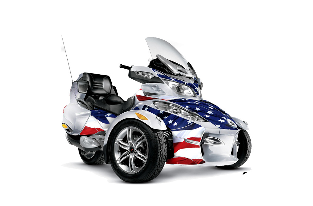 Can Am BRP (RTS) Spyder Graphics: Stars and Stripes Roadster Graphic Decal Wrap Kit