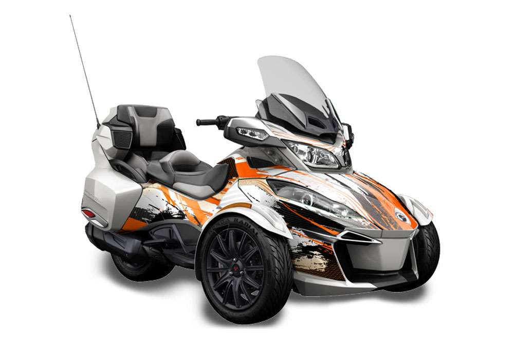 Can Am BRP (RTS) Spyder Graphics: Carbon X - Orange Roadster Graphic Decal Wrap Kit