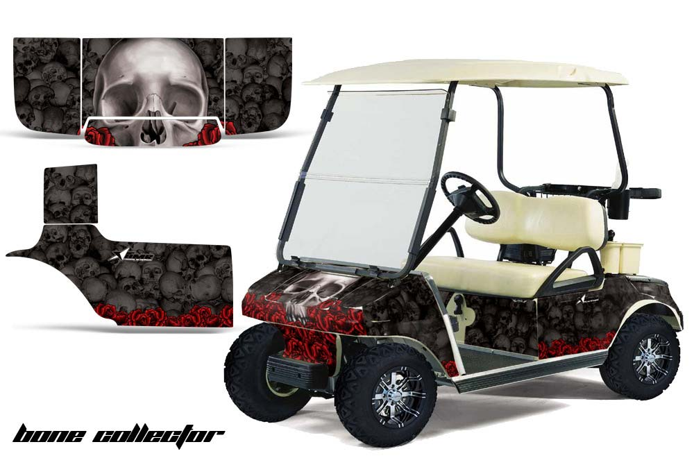 Club Car Precedent Golf Cart Graphics:  Bone Collector - Black Golf Cart Graphic Decal Kit