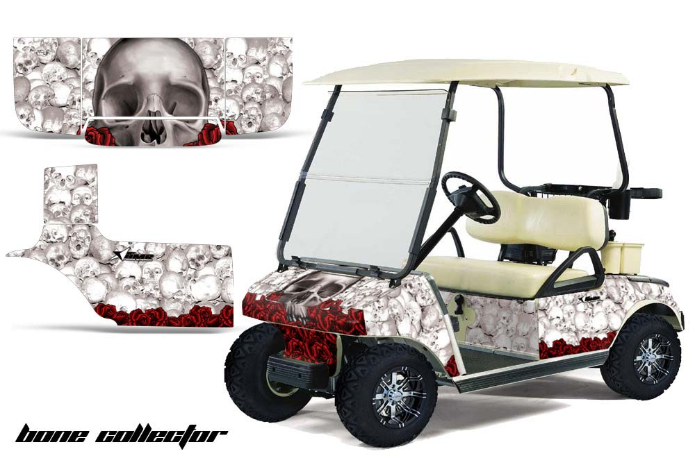 club car precedent golf cart graphics bone collector white golf