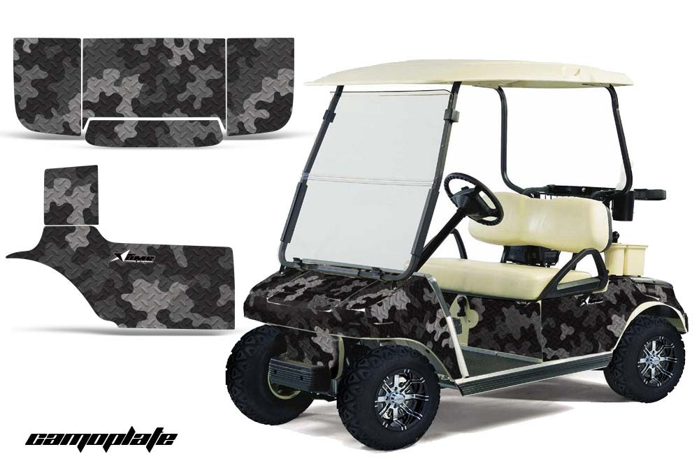 Club Car Precedent Golf Cart Graphics:  Camoplate - Black Golf Cart Graphic Decal Kit