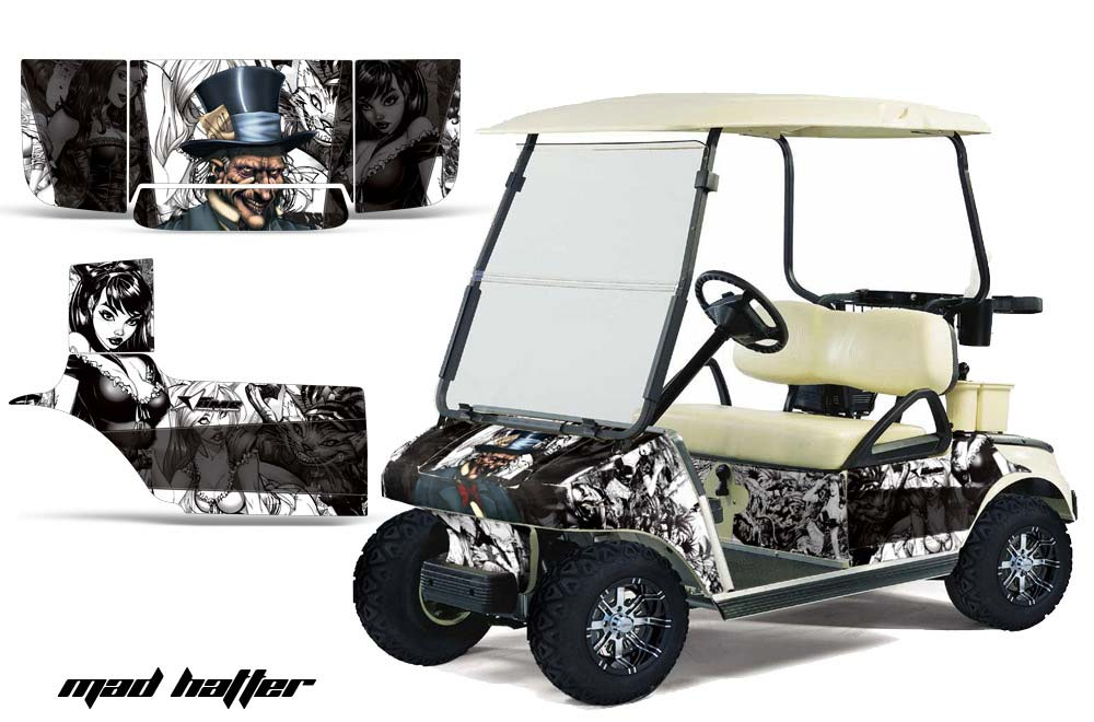 Club Car Precedent Golf Cart Graphics:  Mad Hatter - White Golf Cart Graphic Decal Kit