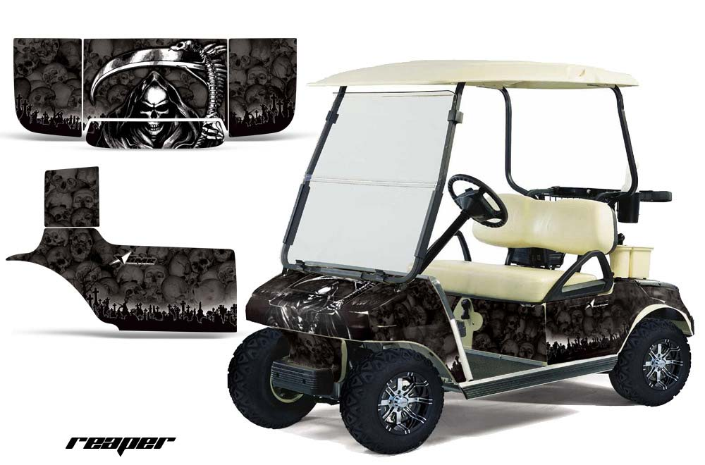 Club Car Precedent Golf Cart Graphics:  Reaper - Black Golf Cart Graphic Decal Kit