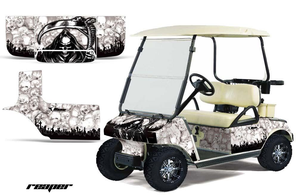 Club Car Precedent Golf Cart Graphics:  Reaper - White Golf Cart Graphic Decal Kit
