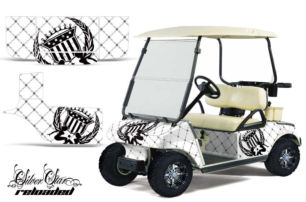 Club Car Precedent Golf Cart Graphics:  Silver Star Reloaded - White Golf Cart Graphic Decal Kit