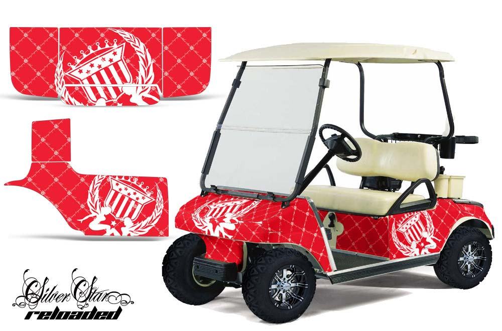 Club Car Precedent Golf Cart Graphics:  Silver Star Reloaded - Red Golf Cart Graphic Decal Kit