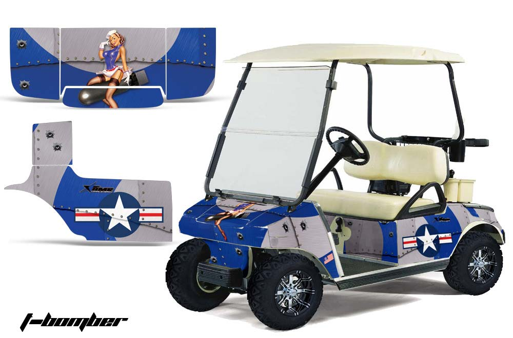 Club Car Precedent Golf Cart Graphics T Bomber Blue