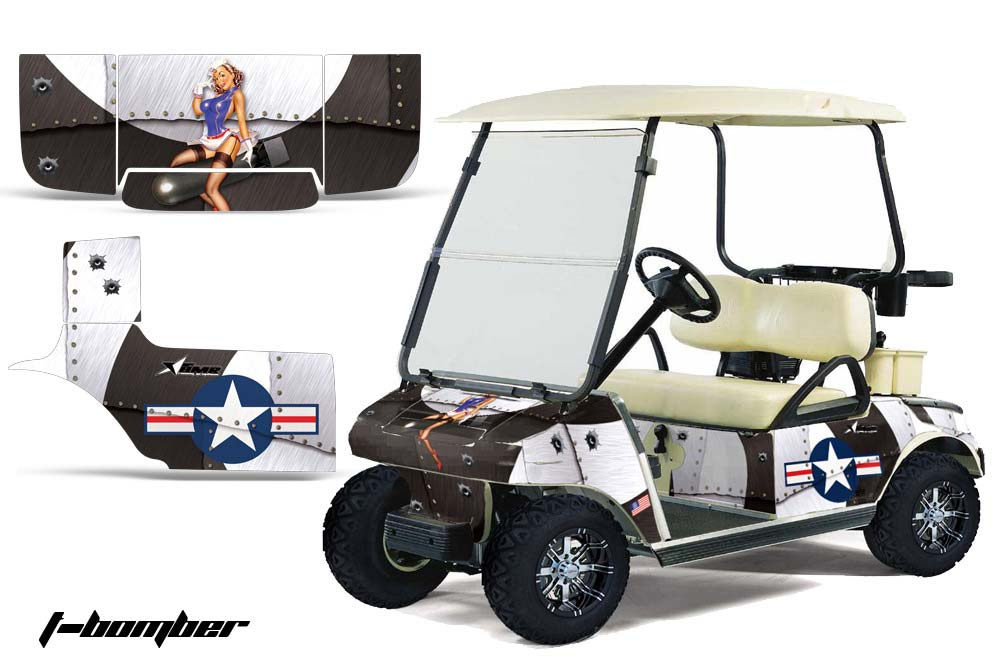 Club Car Precedent Golf Cart Graphics:  T Bomber - White Golf Cart Graphic Decal Kit