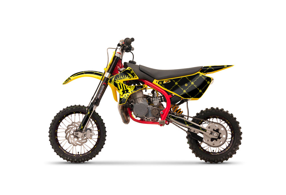Cobra CX 50 Jr Dirt Bike Graphics: Silver Star Silver Haze - Yellow MX Graphic Wrap Kit (2003-2011)
