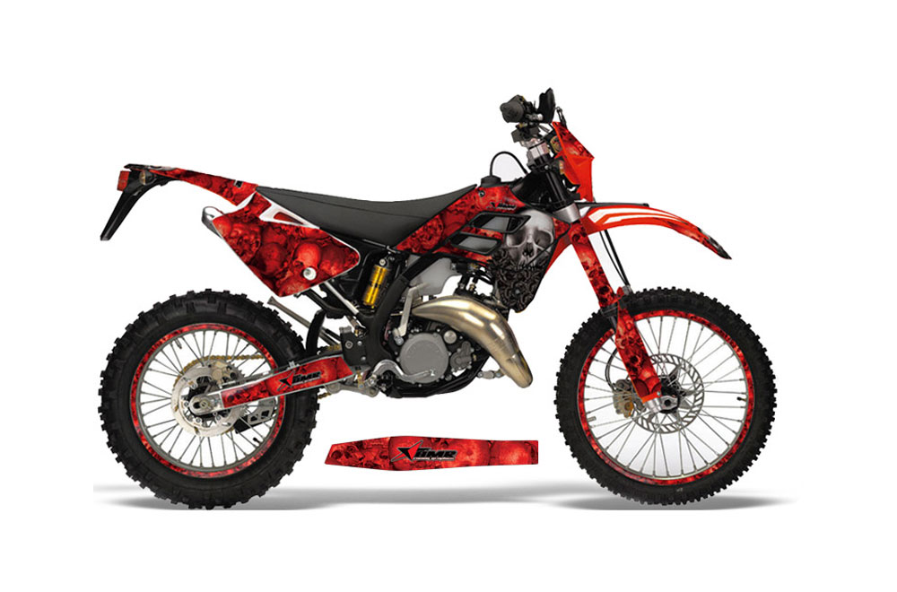 Gas Gas EC 300 Dirt Bike Graphics: Bone Collector - Red MX Graphic Wrap Kit (2006-2008)