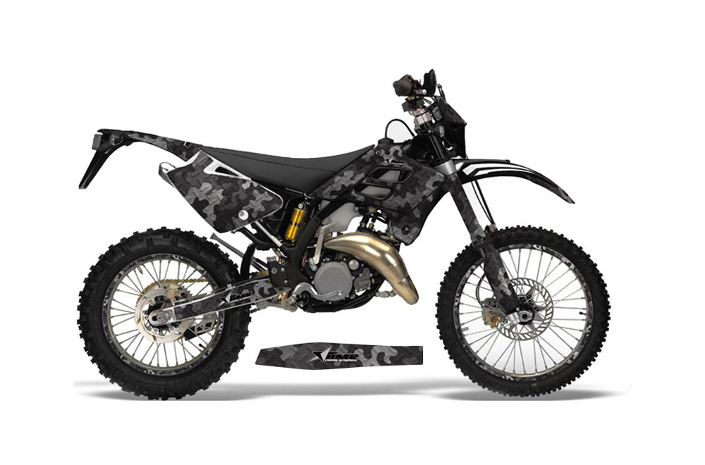 Gas Gas EC 300 Dirt Bike Graphics: Camoplate - Black MX Graphic Wrap Kit (2006-2008)