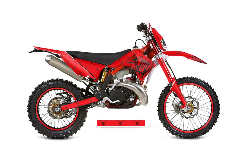 Gas Gas EC 300 Dirt Bike Graphics: Silver Star Reloaded - Red Black MX Graphic Wrap Kit (2011-2012)