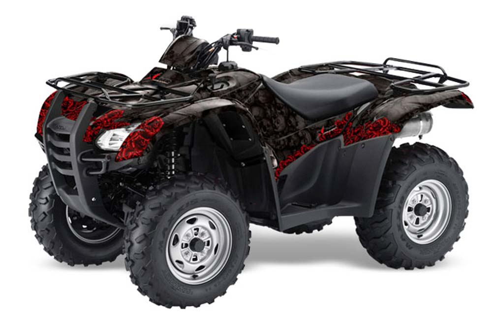 Honda Rancher AT ATV Graphics: Bone Collector - Black Quad Graphic Decal Wrap Kit