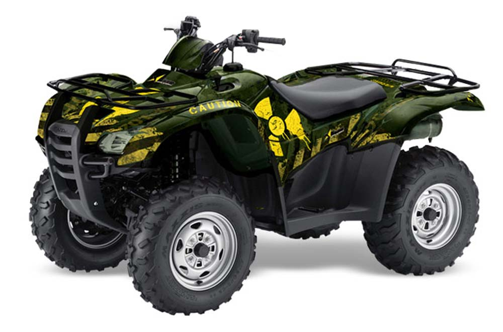 Honda Rancher AT ATV Graphics: Meltdown - Green Yellow Quad Graphic Decal Wrap Kit