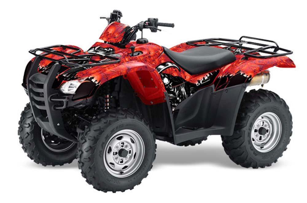 Honda Rancher AT ATV Graphics: Reaper - Red Quad Graphic Decal Wrap Kit