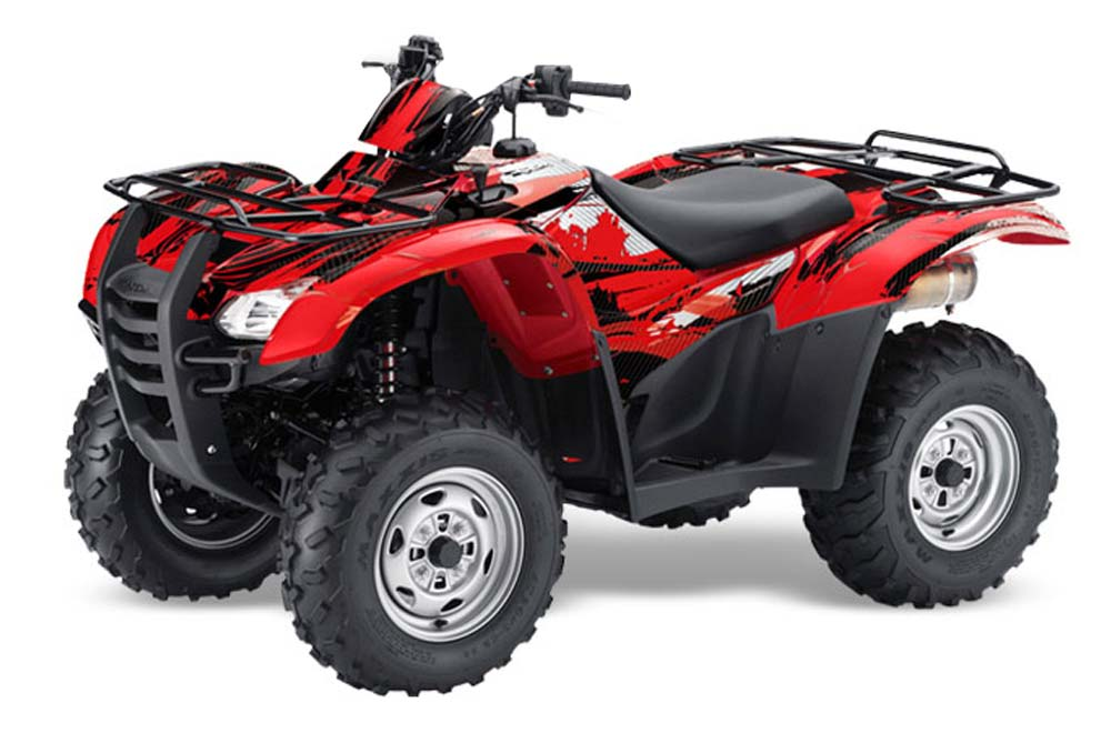 Honda Rancher AT ATV Graphics: Carbon X - Red Quad Graphic Decal Wrap Kit