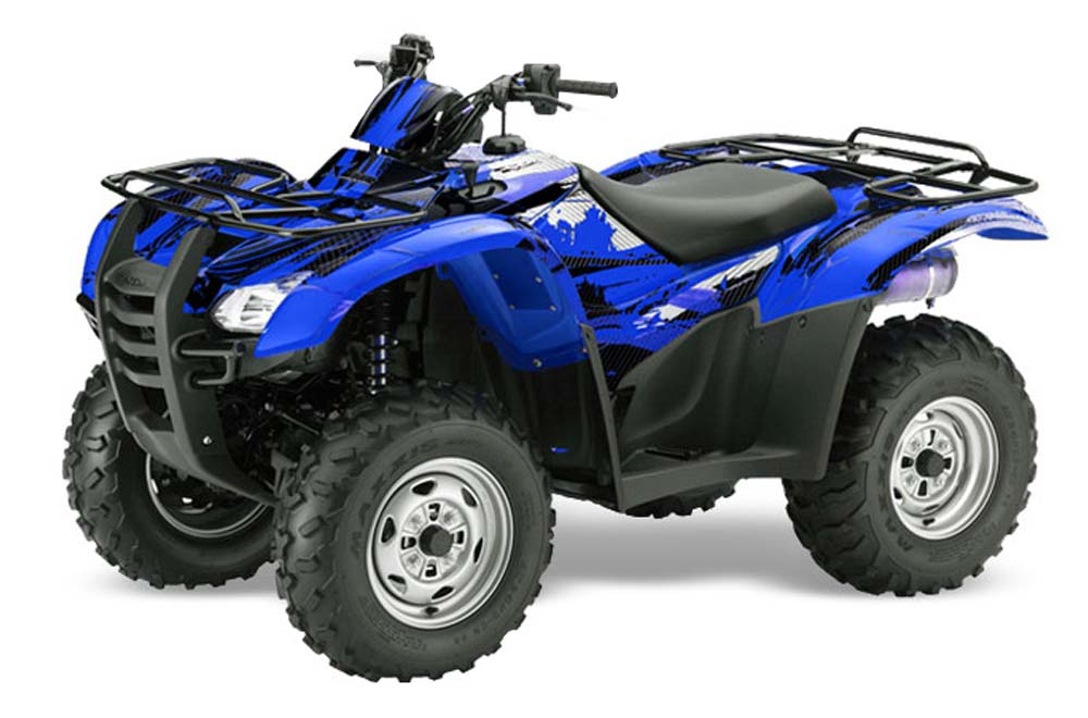 Honda Rancher AT ATV Graphics: Carbon X - Blue Quad Graphic Decal Wrap Kit