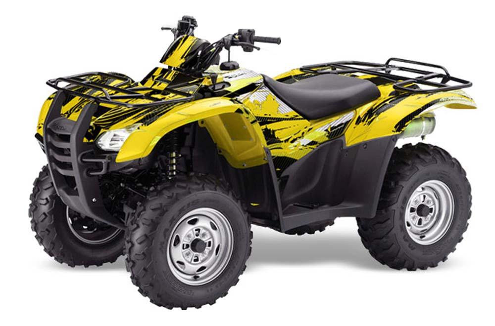 Honda Rancher AT ATV Graphics: Carbon X - Yellow Quad Graphic Decal Wrap Kit
