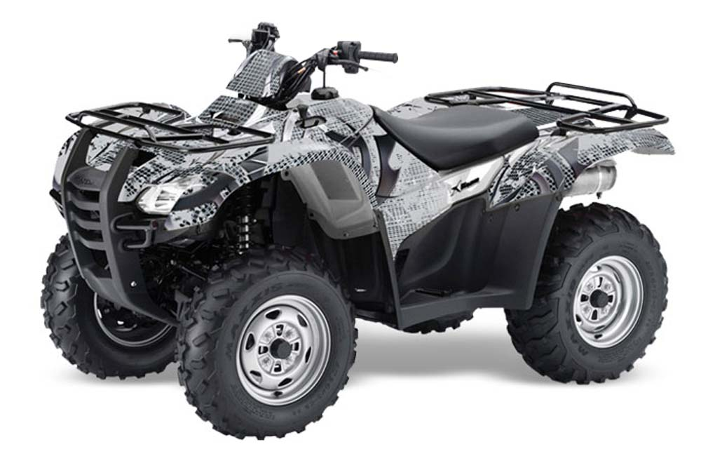 Honda Rancher AT ATV Graphics: Deaden - Silver Quad Graphic Decal Wrap Kit