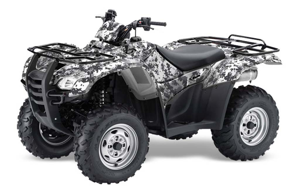 Honda Rancher AT ATV Graphics: Digi Camo - White Quad Graphic Decal Wrap Kit