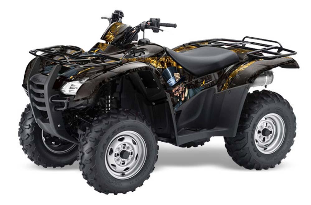 Honda Rancher AT ATV Graphics: Mad Hatter - Black Yellow Quad Graphic Decal Wrap Kit