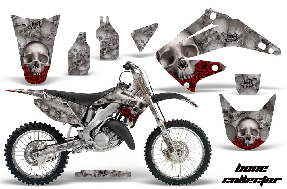 Honda CR Dirt Bike Graphics Bone Collector Silver MX Graphic - Decal graphics for dirt bikes