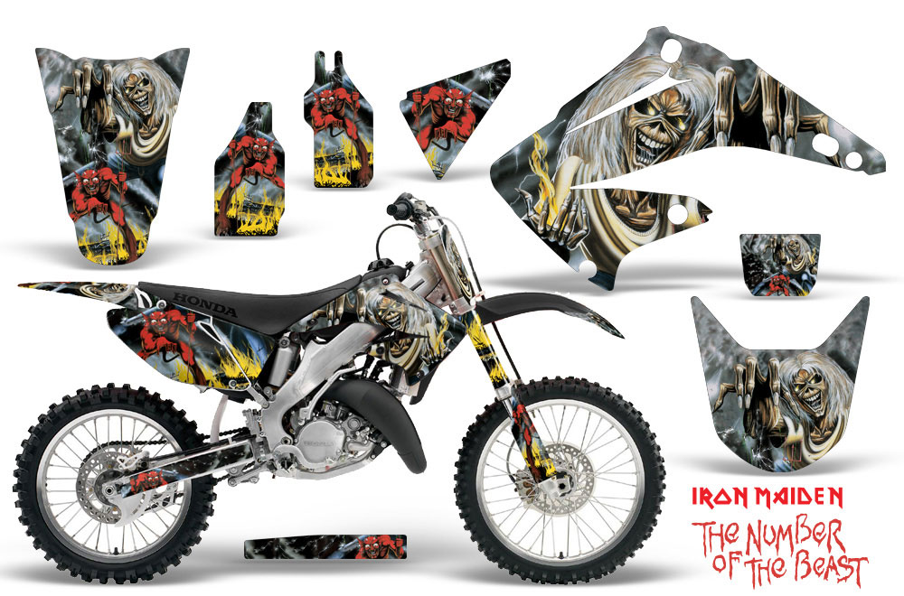 Honda CR125 Dirt Bike Graphics: Iron Maiden - Number of the Beast MX Graphic Decal Wrap Kit