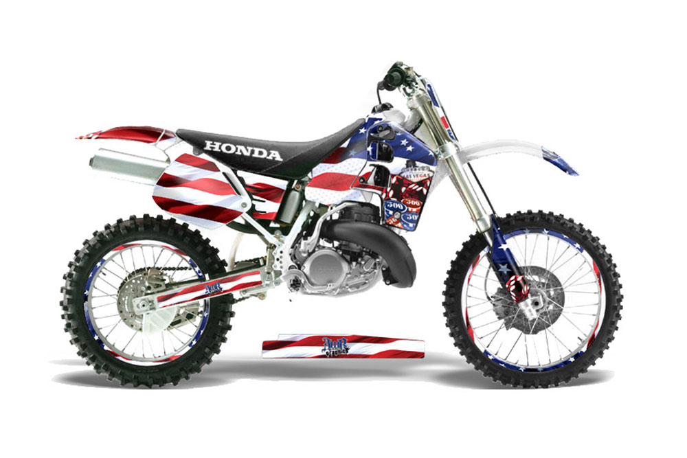 Honda CR500 Dirt Bike Graphics: Sin and Stripes - MX Graphic Decal Wrap Kit