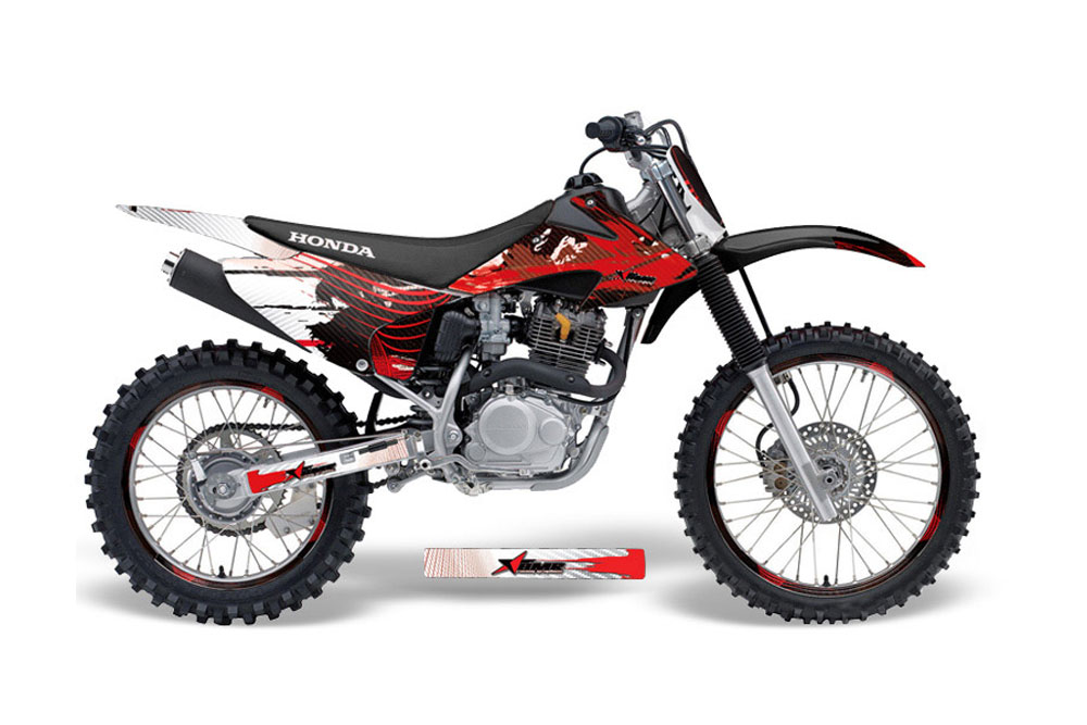 Honda CRF230 F Dirt Bike Graphics: Carbon X - Red MX Graphic Decal Wrap Kit