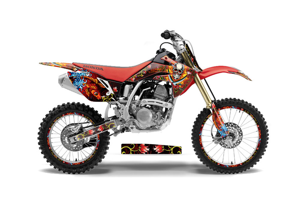 Honda CRF150 R Dirt Bike Graphics: Ed Hardy Pirates - Red MX Graphic Decal Wrap Kit