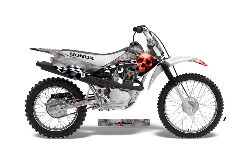 Honda CRF70 Dirt Bike Graphics: Checkered Skull - Red MX Graphic Decal Wrap Kit