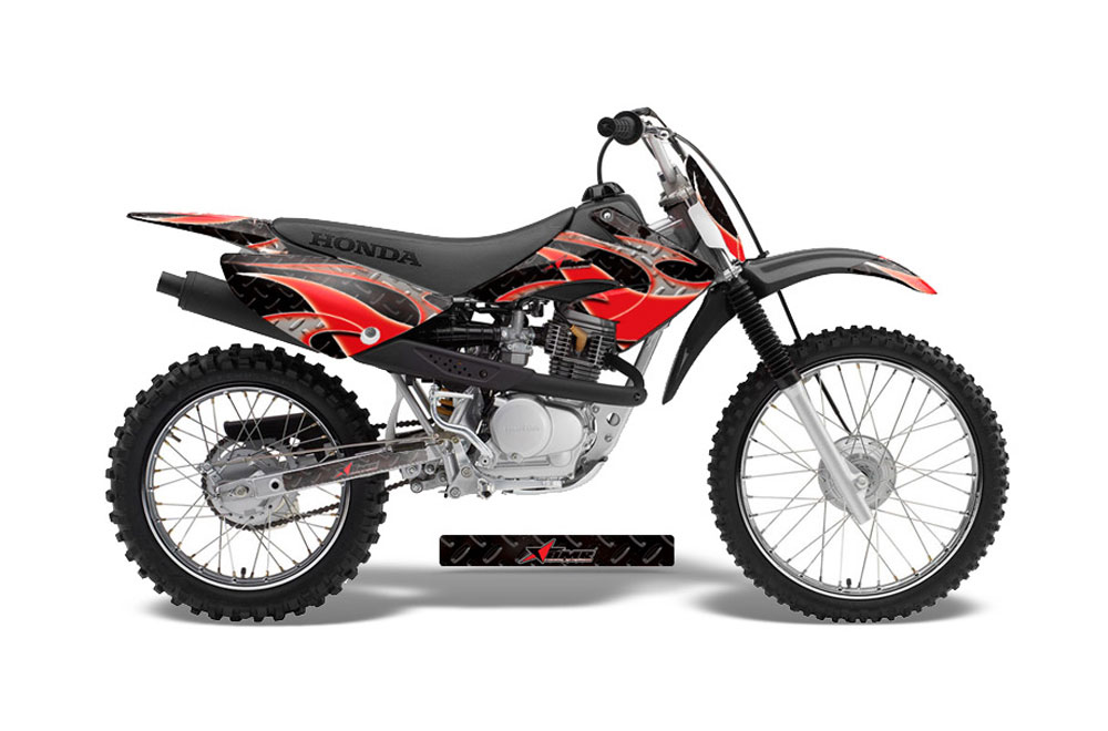 Honda CRF100 Dirt Bike Graphics: Tribal Flames - Red MX Graphic Decal Wrap Kit
